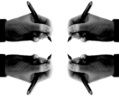 four hands with pens