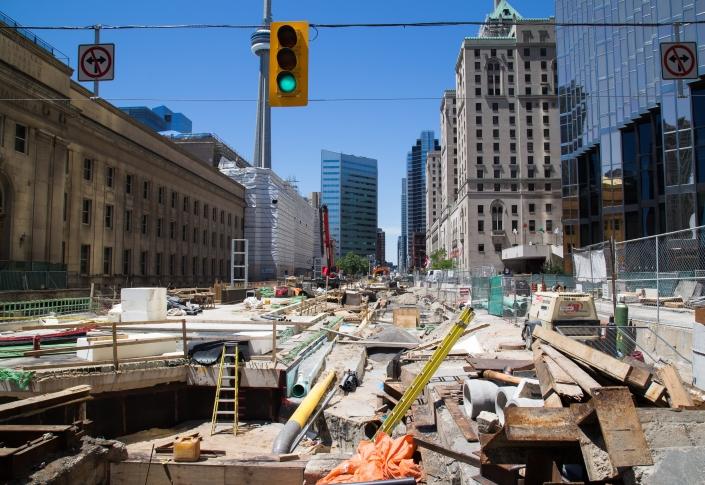 Construction outside Toronto's Union Station